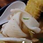 ラーメン哲史 - 剣先イカのつけ麺・あなご一本天ぷら増し