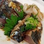 ラーメン哲史 - 造り:帆立貝柱、鰹たたき、しめ鯖