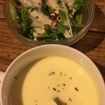90597232 - スープ サラダ (´ω`(´ω`)