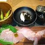 90610805 - 地きん季節の酒肴 地きんめ鯛のお造り4種食べ比べ