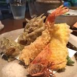 90615387 - 天ぷら(車海老、季節野菜)