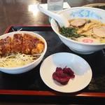夢の家 - ソースカツ丼とラーメンのセット 1060円