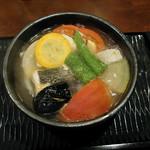 銀座ことひ - スズキと夏野菜の唐柿煮