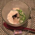 kiwa - 帆立と焼きナス。湯葉とオクラの二色ソース