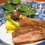 90680384 - 【焼物】                       神戸牛リブロースステーキ ズッキーニ、アスパラ 焼松茸 天然塩 おにおろしポン酢