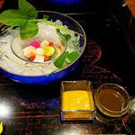 90680388 - 【冷鉢】                       水貝(みずがい)仕立て 鮑 胡瓜 独活 トマト コリンキー 紅心大根 酢味噌 肝醤油