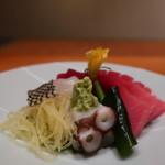 日本料理 幸庵 - メイチダイ、鮪、たこの刺身盛合せアップ