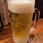 大衆酒場 なんで、や - 「生ビール」中ジョッキ。480円也。