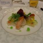 東京プリンスホテル - 鯛と帆立貝のカルパッチョ仕立て ズワイ蟹、柑橘類、サラダを添えて