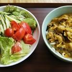 名水うどん かたしな食堂 - カレー&サラダうどん大盛