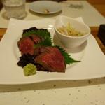 割烹 縮 - 常陸牛の炙り焼き