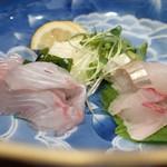 よし春 - 天然しまあじと天然真鯛の造り盛り合わせ