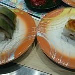 回転寿司 力丸 神戸垂水店 - さば棒寿司&煮穴子押し寿司(各200円)