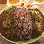 ナミニノカレー - 2種あいがけ(中盛):「クワトロチキンカレー」&「夏野菜たっぷりタトゥイユカレー」  ※燻たまハーフ追加