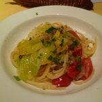 9078425 - トマト・春キャベツ・自家製パンチェッタのスパゲティ