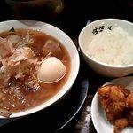 味冨久 - 肉そば(煮たまご)・ご飯・から揚げ