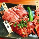 90808030 - 「黒毛和牛三種盛り合わせ(1.980円)」の「肉大盛り(100g:プラス1.000円)」