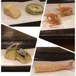 90808258 - 左上からカマンベールチーズとゴーヤ、巻きエビ頭と身、熊本の茄子