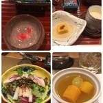 90808259 - 左上から可愛い!金魚の器は夏用?南瓜豆腐と茶碗蒸し、デザートのマンゴープリン、サラダ