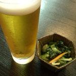 利休庵 - 生ビール・ハーフサイズ(350円)