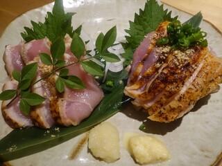 酉たか - 薩摩知覧鶏たたき二種盛り合わせ