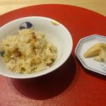 壱 - 鰆と新生姜の炊き込みご飯 山芋のしょうゆ漬け 香の物 新生姜