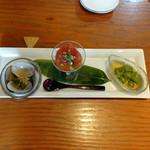 蕎麦切り 旗幟 - 酒あて三種盛り820円