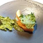 レストラン・カワサキ - 虹鱒、モロヘイヤのソース
