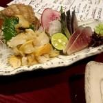居酒屋じゅげむ堂 - 刺身  つぶ貝とシメサバ