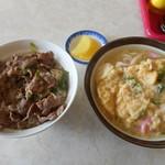 入船食堂 - 肉丼+玉子とじうどん 900円