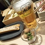90843479 - お通しはうずらの味玉。ビールは大好きなアサヒビール♡