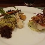 ラ タベルネッタ アッラ チヴィテッリーナ - メイン料理(本日の鮮魚のソテー、枝豆のピューレソース&千葉県産イモ豚のコンフィ、ドライトマトソース)