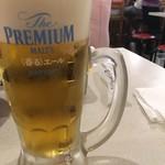 串カツ田中 - 生ビール(サントリープレミアムモルツ)