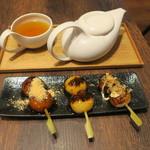 MARUFUJI CAFE - だんご(たこ焼き みたらし 黒蜜きなこ)&かりがねほうじ茶(冷)