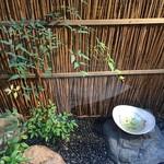 玄蕎麦 野中 - 店の奥に設えられた小さい小さい坪庭 素敵です