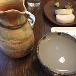 玄蕎麦 野中 - かごんま蕎麦和尚の蕎麦湯割です ホッとする甘みと温かさ 夏に美味しい酒です