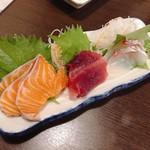志摩の幸 - 料理写真:刺身三種盛り 980円 サーモン、まぐろ、鯛