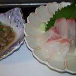 哲多食源の里 祥華 - ○牛肉スジ肉とこんにゃくの煮物 ○鯛の造り