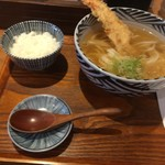 増田うどん - かけ+とり天+ご飯