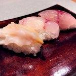 日々魚数寄 東木 - 寿司3貫…生の鯖、イサキ、バイ貝