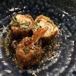 創作料理 薫風湘南 - 海老のカツレツ コリアンダー(パクチー)とニラ風味