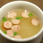 90924109 - 笑子豚100%ハンバーグ200g 1000円 のスープ