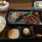 肉の万世 - 黒毛和牛焼しゃぶ&国産牛ヒレ御膳¥3680(税別)