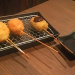 酒×めし 真剣 蒲生四丁目 - 串カツ つくねチーズ トマトベーコン ヨモギ麩
