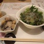 つみき - サラダ:海糸草と有機野菜 ゆずドレッシングと新潟のっぺ