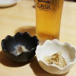 開陽亭 - お通し(ニシンの粕漬け、イカの松前漬)