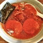 麺通 - 料理写真:カラフトらーめん(辛背油)半麺 こってりで 辛さ2倍 780円+20円 辛し高菜(サービス)