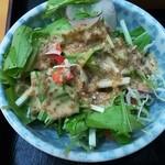 宝寿司 - サラダ。ゴマドレッシングがたっぷり