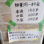 91037173 - 麺の並盛・中盛・大盛は同一料金(2018年8月16日)