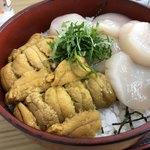 91037911 - 二股丼 ウニ&ホタテ